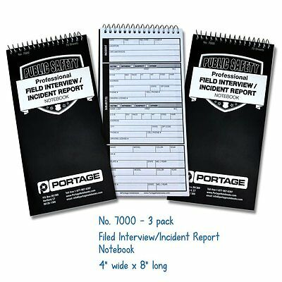 Police Field Interview Notebook, Pack of 3