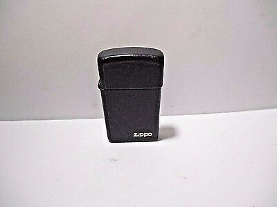Vintage Zippo Slim 1988 D-Iv Black Flip Top Cigarette Lighter With Logo