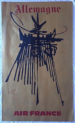 Affiche AIR FRANCE Georges MATHIEU 60s ALLEMAGNE DRAEGER Frères Abstraction
