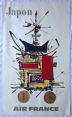 Affiche AIR FRANCE Georges MATHIEU 60s JAPON DRAEGER Frères Abstraction