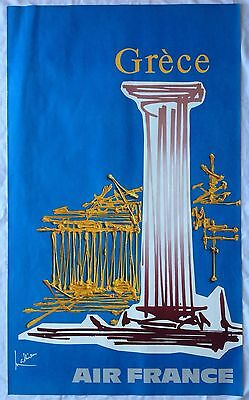Affiche AIR FRANCE Georges MATHIEU 60s GRECE DRAEGER Frères Abstraction