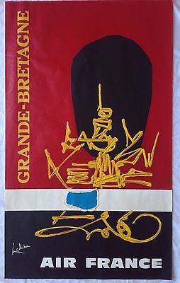 Affiche AIR FRANCE Georges MATHIEU 60 GRANDE BRETAGNE DRAEGER Frères Abstraction