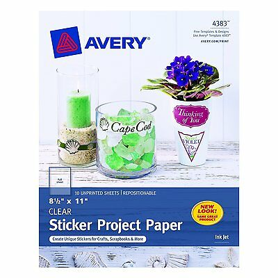 Avery Sticker Project Paper, 8.5 x 11 Inches, Clear, Pack of 10 04383