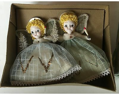 Pair of Vintage Shiny Brite Angel Christmas Ornaments in Box