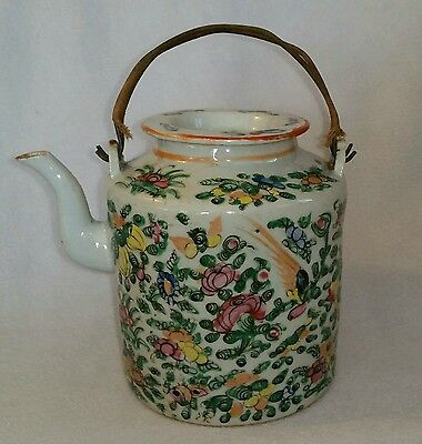 ANTIQUE CHINESE PORCELAIN FAMILLE ROSE TEAPOT w/ ORIGINAL WRAPPED WIRE HANDLES