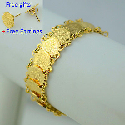 Islam coin bracelet 18K gold plated filled hand chain bangle women muslim arab