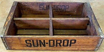 Original Vintage 1974 Sundrop Wood Soda Pop Drink Crate Concord NC