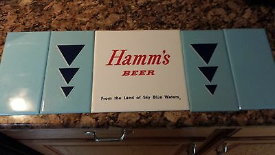 1960's Hamm's Beer Plastic Tile Signs, 5 Signs, 4 Blue Rectangle Signs