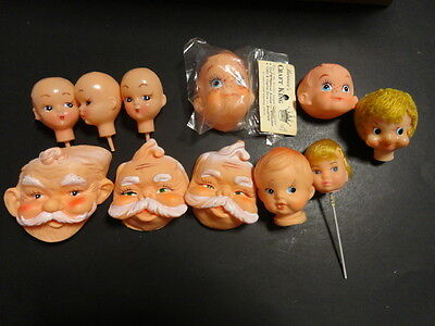 Vintage Christmas santa doll heads faces Doll Parts Lot