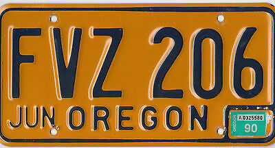 Authentic 1990 Natural Oregon Blue On Gold License Plate # Fvz 206