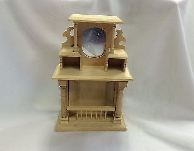 Dolls House Fireplace with Overmantle Unfinished Wood 1:12 Scale