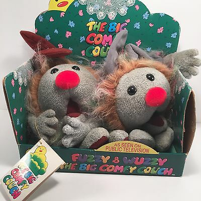 Big Comfy Couch Dust Bunnies Fuzzy and Wuzzy 1997 in Box Vintage Plush
