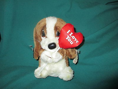 Plush Valentine Sad Sam Dog W/tags 1986 Applause Basset Hound