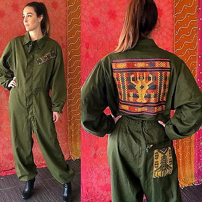 Vintage 70s India JUMPSUIT Boho Ethnic Embroidered Hippie Patched Jumpsuit