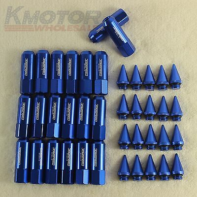 Blue 20PCS M12X1.5 Cap Spiked Extended Tuner 60mm Aluminum Wheels Rims Lug Nuts