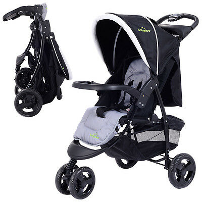 3 Wheel Foldable Baby Kids Travel Stroller Pushchair Buggy Newborn Infant Black