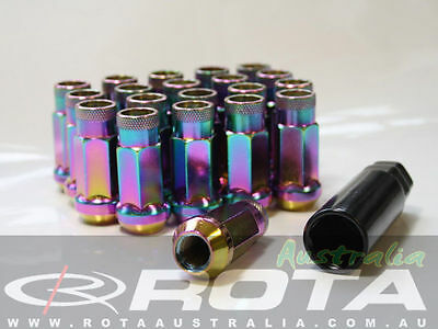 NEO CHROME / TITANIUM STEEL EXTENDED WHEEL NUTS x20 ROTA M12x1.5mm GT50