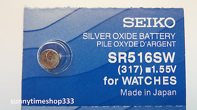 SR516SW/317, Seiko, Watch Battery, Made in Japan, Silver Oxide, 1.55V
