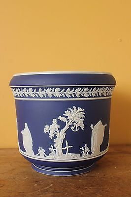 Antique Adams Cobalt Jasperware Jardiniere. Large.