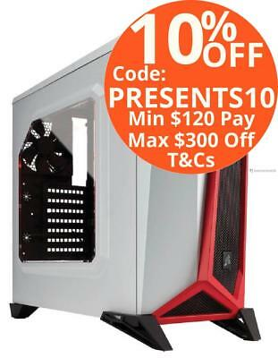 Corsair Carbide Spec-Alpha White Red Mid Tower Desktop Case with Window Red LED