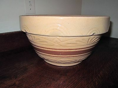 "Vintage Brown Yelloware 12"" Mixing Bowl RRRP Roseville pottery stripe"