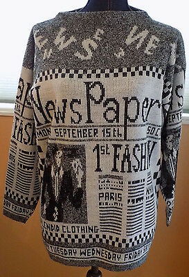 Vintage 80s CHECKERED Black & White ICONIC Fashion Newspaper Party SWEATER L-XL