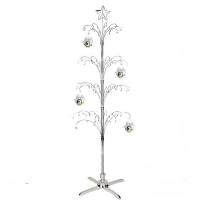 6ft Christmas Xmas Tree Silver Metal Deluxe Ball Bauble Hanging Crystal Garland