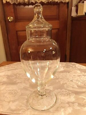 Vtg 10 In. Clear Glass Apothecary Footed & Lidded Elegant Jar