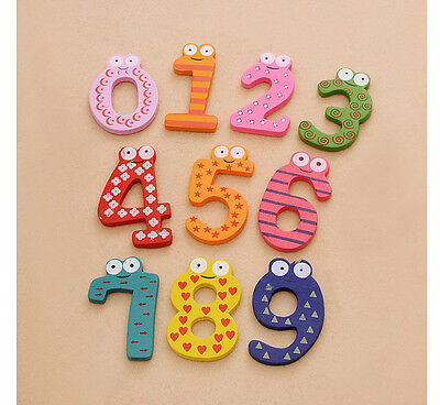 10Pcs Mixed Wooden Cartoon Number Fridge Magnets Baby Toddler Learning Early Toy