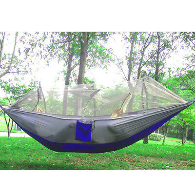 Portable Camping Mosquito Net Hammock Parachute Hanging Bed Sack Army Green