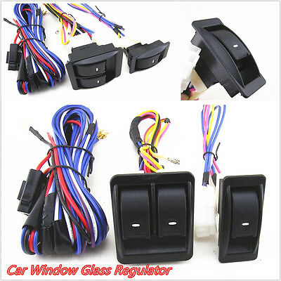 Car Power Door Window Glass Lift Switch Harness Wire Kit With Green Illumination
