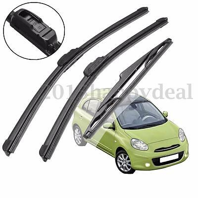 Front Rear Side Windscreen Window Wiper Blades For Nissan Micra MK3 MK III 02-10