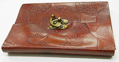 Handmade Leather Journal Traditional Pattern Embossed With Antique Lock Handmade