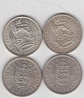 1936/1944/1953 & 1955 Type Set Of Four Shillings In A High Grade