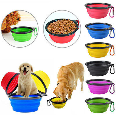 Silicone Foldable Pet Dog Cat Puppy Bowl Travel Collaspible Water Dish Feeder