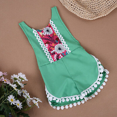 New Girls Floral Sleeveless Romper Jumpsuit Outfits Clothes For 0-24 months Baby