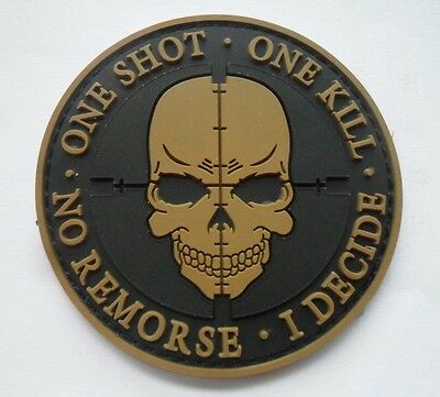 ONE SHOT Skull Patches ARMY MORALE TACTICAL MORALE BADGE PATCH  SJK+  635