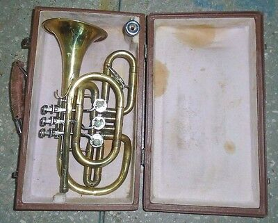 Vintage USSR Brass Pipe Cornet with Case 1975