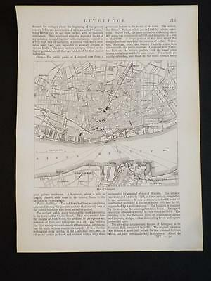 LIVERPOOL PORT VINTAGE MAP - CITY & RIVER MERSEY - OLD ANTIQUE PRINT c1910