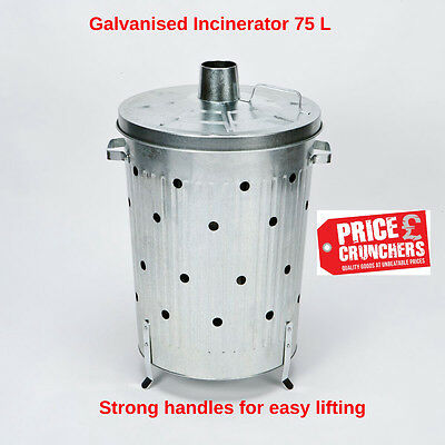 Garden Incinerator Bin Galvanised Waste Burning Rubbish Burner Large 75 litre