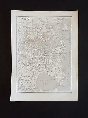 MAP of SYDNEY AUSTRALIA - OLD VINTAGE ANTIQUE PRINT c1910