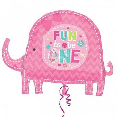 Fun To Be One Pink Elephant 1st Birthday Girl Foil Balloon Supershape
