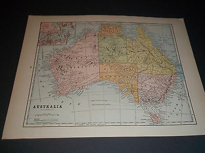 1891 AUSTRALIA Antique color state map original authentic