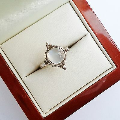 Sterling Silver Moonstone Ladies Ring UK SIZE K 1/2; US SIZE 5 1/2