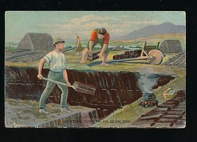 Ireland Cutting turf in an Irish bog Used 1905 PPC