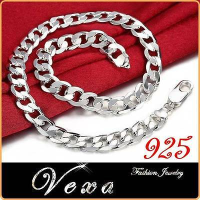 New Mens 925 Sterling Silver 20'' Necklace Curb Solid Link Chain 12mm UK NS03