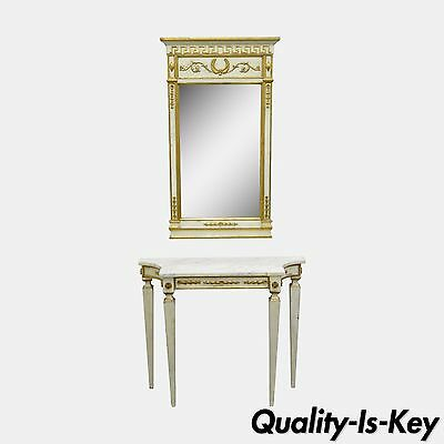 Antique Italian Neoclassical French Louis XVI Marble Top Console Table & Mirror