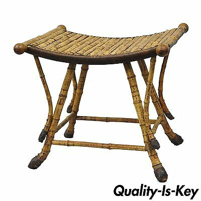 Antique English Victorian Bamboo Asian Style Foot Stool Rest Ottoman Seat Chair