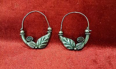OLD ANTIQUE VINTAGE PAIR OF SILVER EARRINGS WITH STONE LEAFS ART DECO 13.85gr