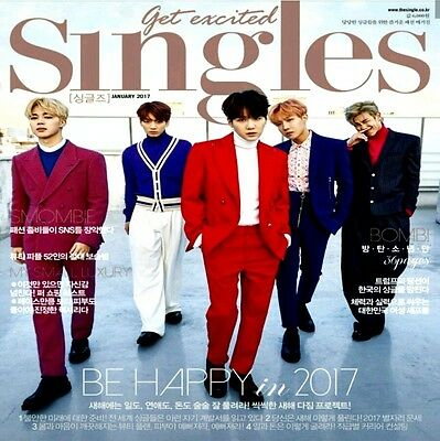 Singles Magazine Jan 2017 BTS Cover + Bangtan Boys Special Article 36p Clipping
